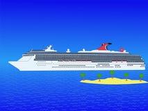 Het schip van de cruise met eiland stock illustratie