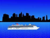 Het schip van de cruise in New York vector illustratie