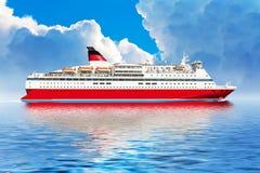 Het schip van de cruise in oceaan Stock Afbeeldingen