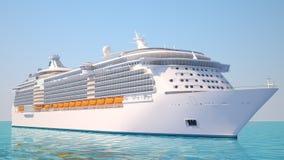 Het schip van de cruise op de oceaanperspectiefmening vector illustratie