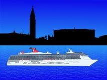 Het schip van de cruise in Venetië royalty-vrije illustratie