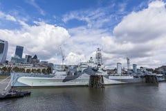 Het schip van de de lichte kruiserslag van HMS Belfast in Londen Stock Foto