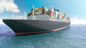 Het schip van de ladingscontainer in een overzees stock illustratie