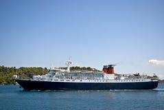 Het schip van de passagier in haven Skiathos Stock Afbeeldingen