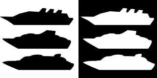 Het schip van de silhouetcruise Stock Foto