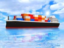 Het Schip van de Tanker van de lading op Mooi OceaanLandschap Stock Foto's