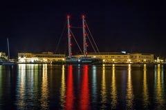 Het Schip van GREENPEACE dat in Syros, Griekenland wordt vastgelegd stock foto's