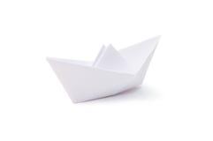 Het schip van het document dat over wit wordt geïsoleerd Stock Fotografie