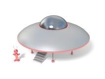 Het schip van Ufo en een vreemdeling vector illustratie