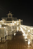 Het schipdek van de cruise bij nacht Royalty-vrije Stock Fotografie