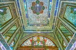 Het schitterende complexe binnenland van Naranjestan, Shiraz, Iran Stock Foto's