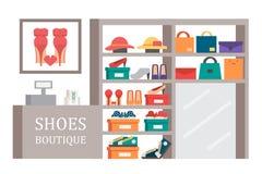 Het schoeiselopslag van de schoenenwinkel Vector het winkelen illustratie Stock Afbeelding