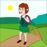 Het schoolmeisje gaat op een voetpad Stock Afbeelding