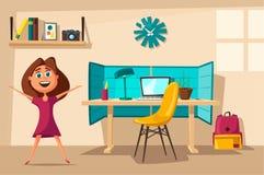 Het schoolmeisje leert thuis lessen De vectorillustratie van het beeldverhaal royalty-vrije illustratie