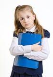 Het schoolmeisje met de plastic omslag royalty-vrije stock afbeeldingen