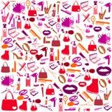 Het schoonheidsmiddel, maakt omhoog en schoonheidspictogrammen Royalty-vrije Stock Afbeelding