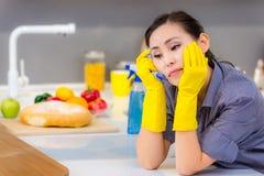 Het schoonmaken in de keuken stock fotografie