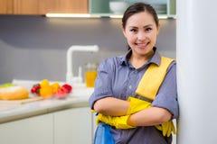 Het schoonmaken in de keuken stock afbeelding