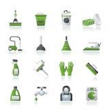 Het schoonmaken en hygiënepictogrammen Stock Afbeeldingen