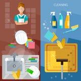 Het schoonmaken het huis van de dienstbanners het schoonmaken Royalty-vrije Stock Fotografie