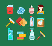 Het schoonmaken hulpmiddelen vectorreeks Detergentia voor het schoonmaken van huis of hotel Stock Foto