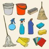 Het schoonmaken hulpmiddelreeks Stock Foto's