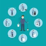 Het schoonmaken mensenconcept Stock Foto