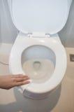 Het schoonmaken op toilet Stock Foto's