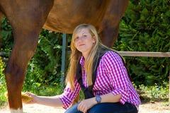Het schoonmaken paard Royalty-vrije Stock Afbeeldingen