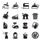 Het schoonmaken pictogramreeks royalty-vrije illustratie