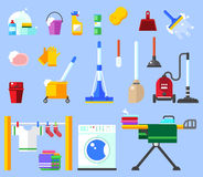 Het schoonmaken reeks de schone dienst en schoonmakende hulpmiddelen Huishoudelijk werkreeks Schoon huis, spons, bezem, emmer, zw Royalty-vrije Stock Foto's