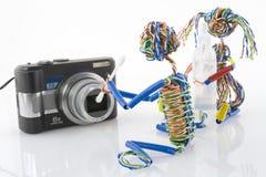 Het schoonmaken van compacte optica stock fotografie