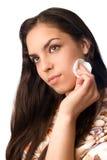Het schoonmaken van de make-up Stock Fotografie