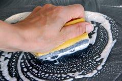 Het schoonmaken van de spons stock foto