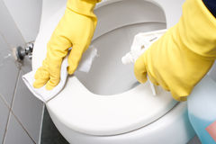 Het schoonmaken van een WC Stock Afbeelding