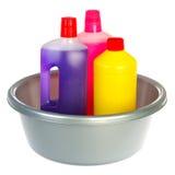 Het schoonmaken van flessen vloeistoffen stock afbeeldingen