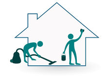 Het schoonmaken van het huis Stock Foto's