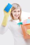het schoonmaken van het venster Stock Foto