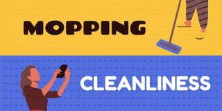 Het schoonmaken van vloeren en het schoonmaken van ruimten stock illustratie