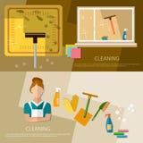 Het schoonmakende de dienst en het schoonmaken het huis van de leveringsbanner schoonmaken Royalty-vrije Stock Fotografie