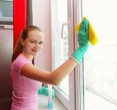 Het schoonmakende venster van de vrouw Stock Afbeeldingen