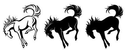 Het schoppen paardoverzicht en silhouet royalty-vrije illustratie