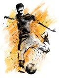Het Schoppen van de voetballer Bal illustratie van sport royalty-vrije illustratie