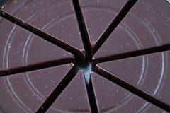Het schot van de close-up van donkere chocoladewiggen kan binnen Stock Fotografie