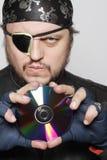 Het schot van het concept van de mens als piraat van Internet Royalty-vrije Stock Foto
