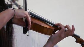 Het schot van het vioolclose-up De violist die op festival spelen stock video