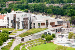 Het Schotse Parlementsgebouw in Hollyrood, Edinburgh, Schotland stock foto's