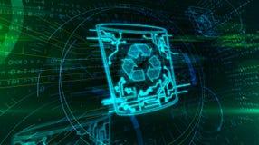 Het schrappen van gegevens met 3d illustratie van het computerafval stock illustratie