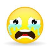 Het schreeuwen emoji Emotie van zorg Het huilen emoticon De stijl van het beeldverhaal Het vectorpictogram van de illustratieglim Stock Afbeelding