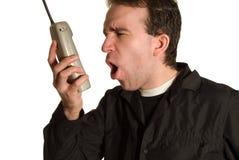Het schreeuwen op de Telefoon stock afbeelding
